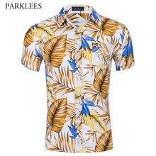 Verão de Manga Curta Homens Camisa Havaiana Marca Slim Fit Camisa de Botão Para Baixo Camisas de Praia Holiday Party Casual Aloha Camisa Hawaiana