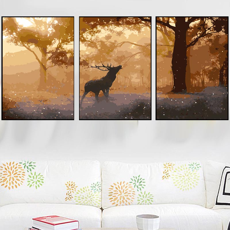 HTB1HBXRXNjaK1RjSZFAq6zdLFXaM 3 pcs DIY Oil Painting by Numbers Flower Triptych Pictures Animal Coloring Landscape Abstract Paint Wall Sticker Home Decor Gift