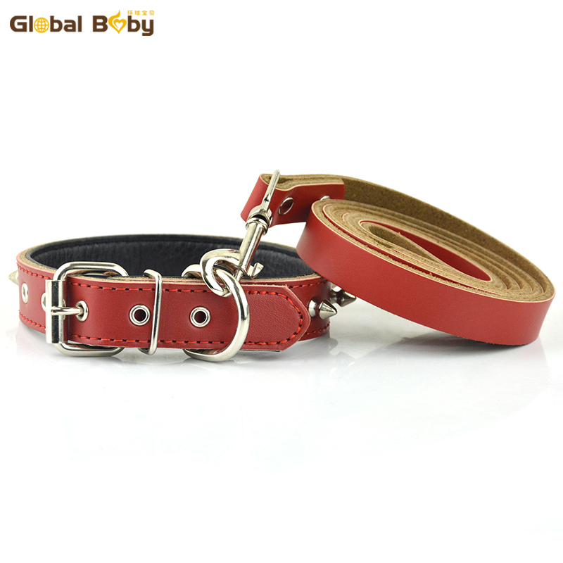 Hot Sale Fashion Real Leather Studded Spikes Protective Body Dog Pet Collars and Matched Lead Leashes Set