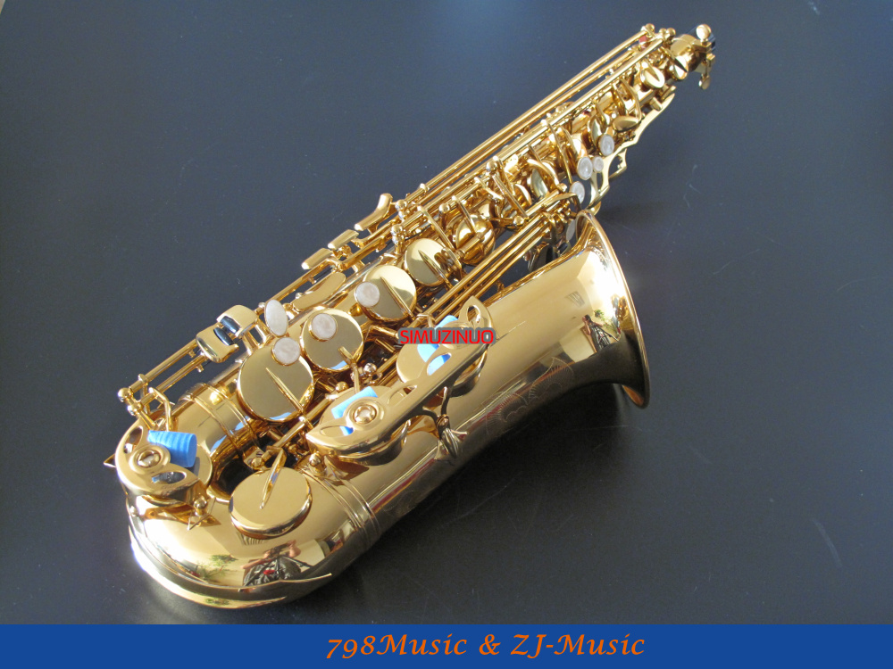 Lacquer Gold Eb Alto Saxophone High F# With-White Pearl Buttons