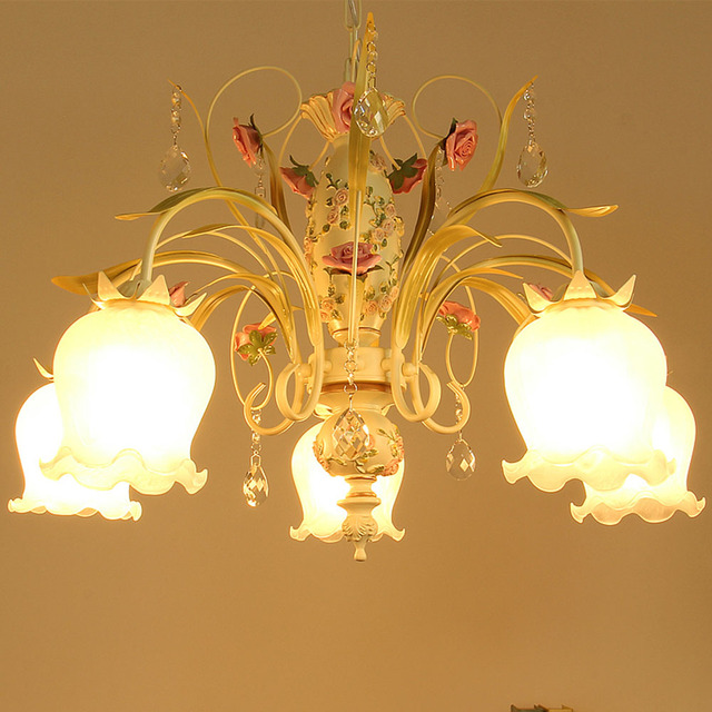 Iron Chandelier Led Modern Countryside Simple Wrought Metal Chandeliers 110 220v Pink Nursery Rose Flower