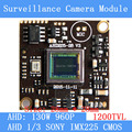 "AHD 960P 1200TVL1.3MP board camera module cctv camera PCB, 1/3 ""SONY IMX225 color camera plate, Low 0.001lux, 28 * 28mm"