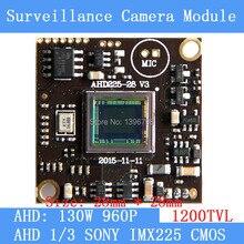 """AHD 960P 1200TVL1.3MP board camera module cctv camera PCB, 1/3 """"SONY IMX225 color camera plate, Low 0.001lux, 28 * 28mm"""