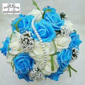 Image 5 - Perfectlifeoh bonito roxo buquê de casamento todos os buquês de casamento de flores de noiva pérolas artificiais flor rosa ramos de novia