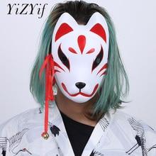YiZYiF косплей маска ручной работы лиса стиль полный косплей с маской для лица Кисточки и маленькие колокольчики Маскарад фестиваль костюм вечерние шоу