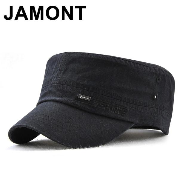 3730fe87317 Jamont Military Style Cadet Army Cap Men Women Pure Color Washed Cotton  Flat Top Cap Summer Autumn Adjustable Chapeau Visor Hat