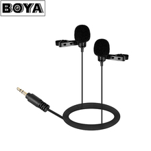 BOYA BY-LM300 Dual Omnidirectional Lavalier Mic for Canon Nikon Sony DSLR Camera Camcorder Audio Recorder PC Video Microphone
