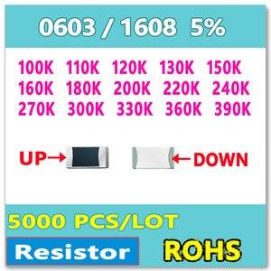Image 1 - Jasnprosma 0603 J 5% 5000 Chiếc 100K 110K 120K 130K 150K 160K 180K 200K 220K 240K 270K 300K 330K 360K 390K SMD 1608 Ohm