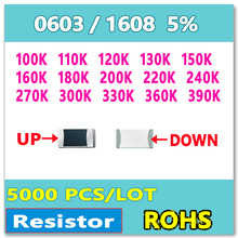 Jasnprosma 0603 J 5% 5000 Pcs 100K 110K 120K 130K 150K 160K 180K 200K 220K 240K 270K 300K 330K 360K 390K Smd 1608 Ohm Weerstand