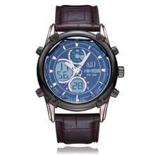 2016 Men Leather Strap Sport Watch Analog Digital Dual Time Zones Wrist Watches Chronograph Alarm Calendar Quartz Wristwatches