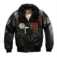Big size Airforce G1pilot warm fur collar leather jacket genuine cow leather coat thick cowhide rider cowhide lamb collar jacket