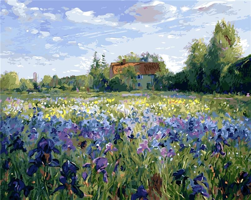 paarse bloem olieverf op nummers met de hand beschilderd verf kleuren - Huisdecoratie