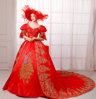 Deluxe Women Medieval Victorian Cosplay Costume Masquerade Maxi Puffy Evening Party Gown Vintage Dress