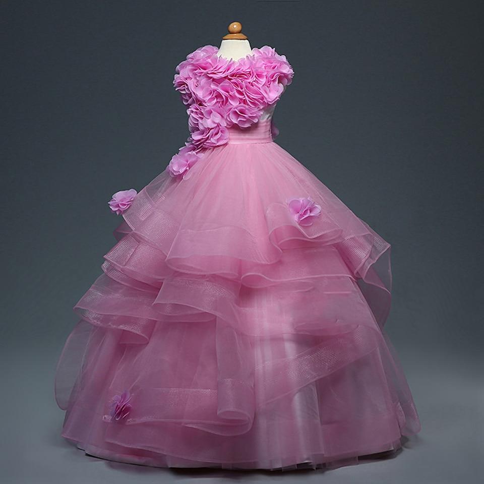 Горячая распродажа новых платьев розового цвета с цветочным принтом для девочек Платье с кружевами цветочками без рукавов и круглым воротн...
