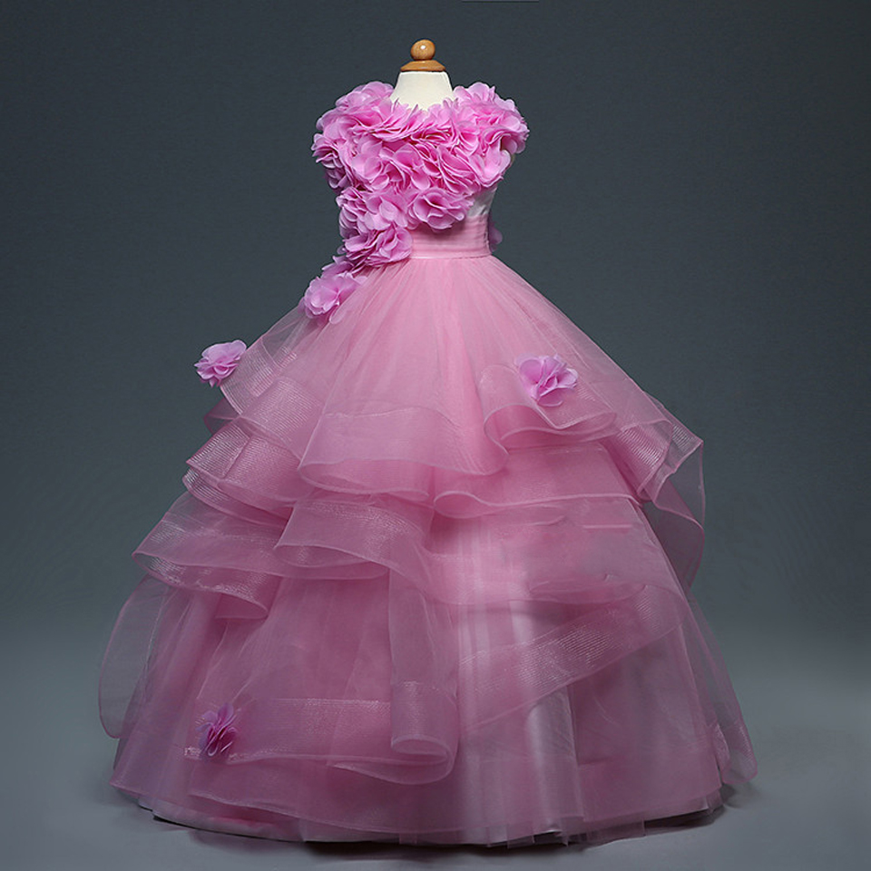 ᗖNew Hot Light Pink Flower Girl Dress Ball Gown Sleeveless Ankle ...