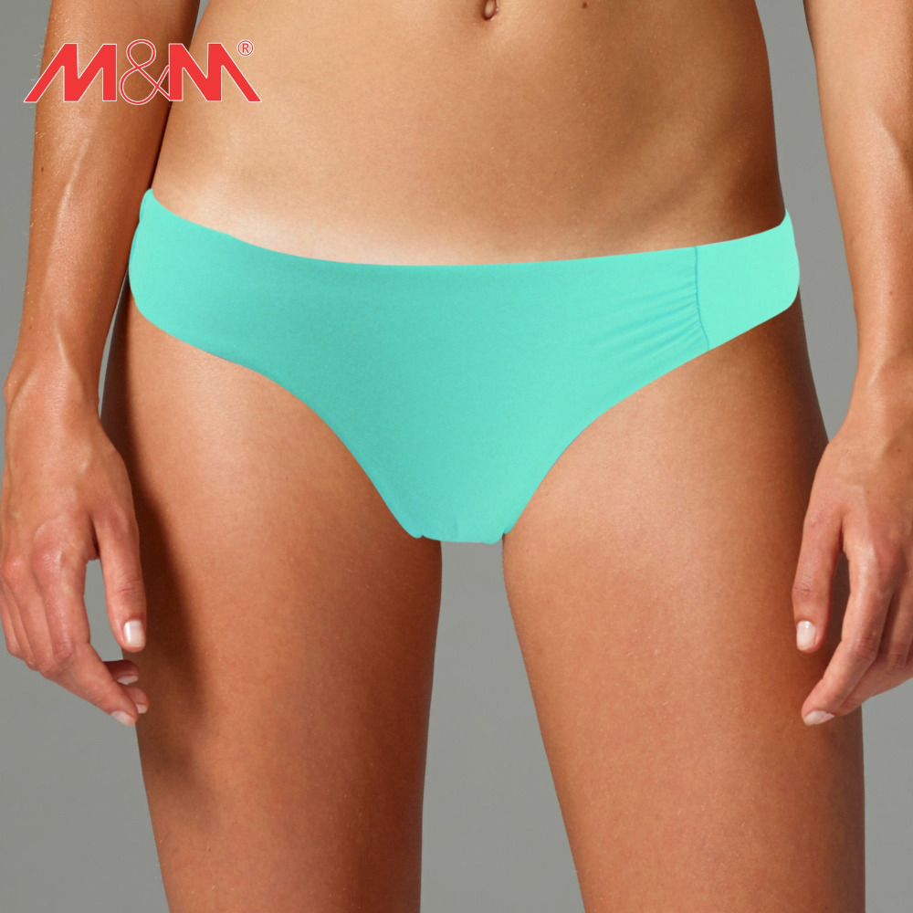 M&M Thong Swim Briefs S M L Solid Two-Piece Separates Swimwear 2016 Summer Female Brazilian Bikini Bottom
