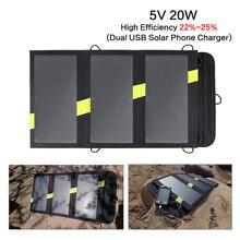 Pliable Portable Panneaux Solaires Chargeur 5 V 20 W Solaire Batterie Solaire Mobile Chargeur de Téléphone Pour iPhone Samsung iPad et ainsi de suite.