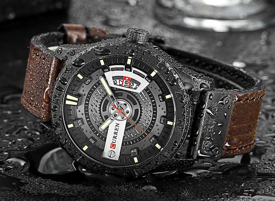 2018 יוקרה מותג CURREN גברים צבאי ספורט שעונים גברים של קוורץ תאריך שעון גבר מזדמן עור שעון יד Relogio Masculino