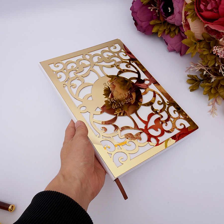 Personalizado Assinatura Do Casamento Livro de Visitas Em Branco Páginas Personalizado Oco Fora Verificar nos Livros Do Partido Decoração Favores 26X19 cm Álbum