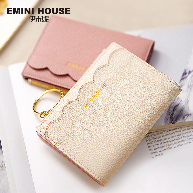 Short Wallet Purse Emini-House Bifold Leather Women Hasp Card-Holder Split Ruffles Organizer