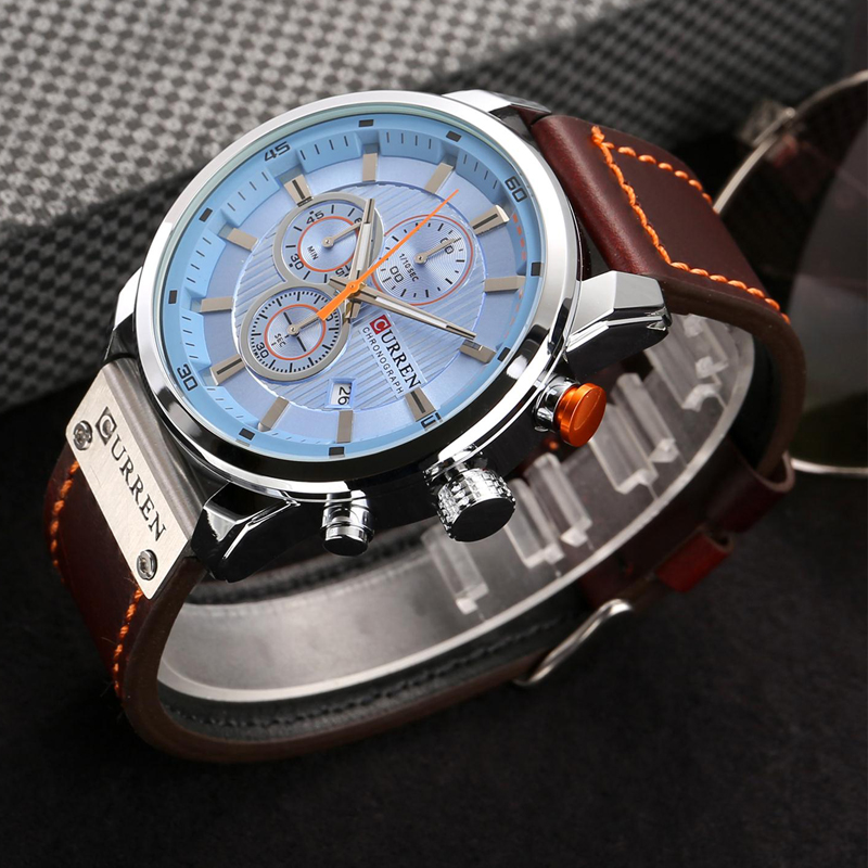 CURREN 8291 Luxury Brand Men Analog Digital Leather Sports Watches Men\`s Army Watch Man Quartz Clock Relogio Masculino drop shipping wholesale cheap (13)