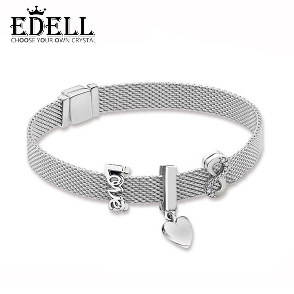 EDELL 100% 925 Sterling Silver New Reflexions Floating Heart Clip Charm Love Clip SPARKLING INFINITY CLIP CHARM Bracelet Set