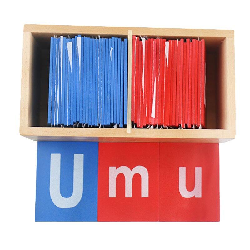Jouets en bois Montessori bébé petites lettres de papier de verre rouge et bleu jouets éducatifs d'apprentissage précoce pour enfants cadeau d'anniversaire E2364Z