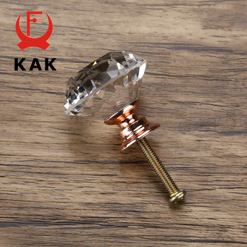 KAK 20-40mm Diamond Shape Design Crystal Glass Knobs Cupboard Drawer Pull Kitchen Cabinet Door Wardrobe Handles Hardware 6