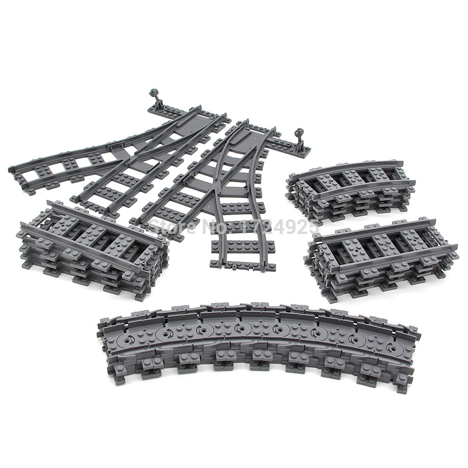 Flexible Curved and Straight forked Rail Tracks for Train Soft Railway Building Block Sets Models Kids Educational Toys KY98215