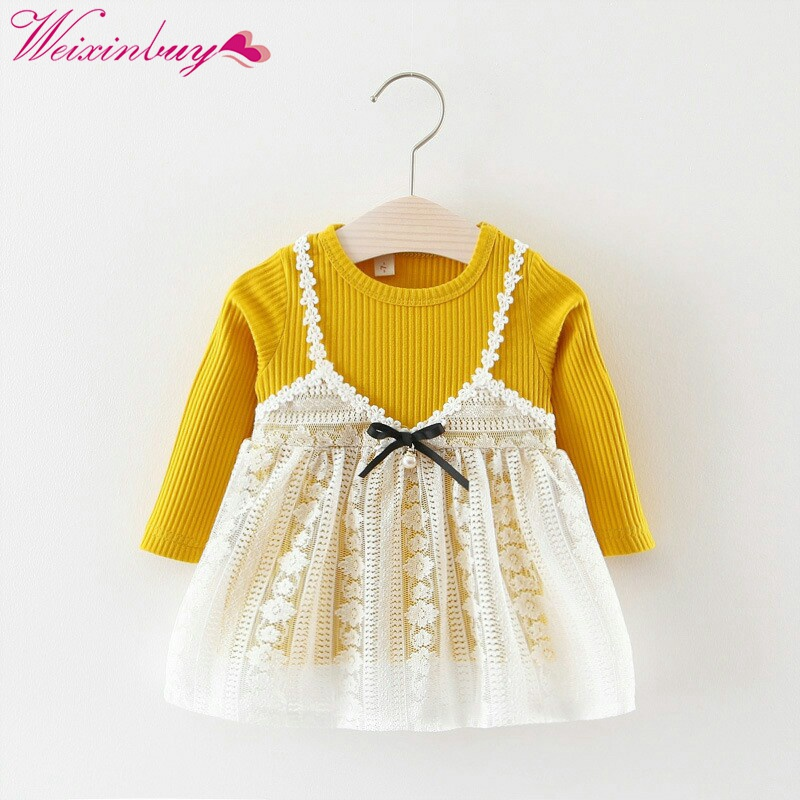 Christmas Kid Girls Autumn Long Sleeve Knitting Lace Patchwork Party Princess Dress vestidoes