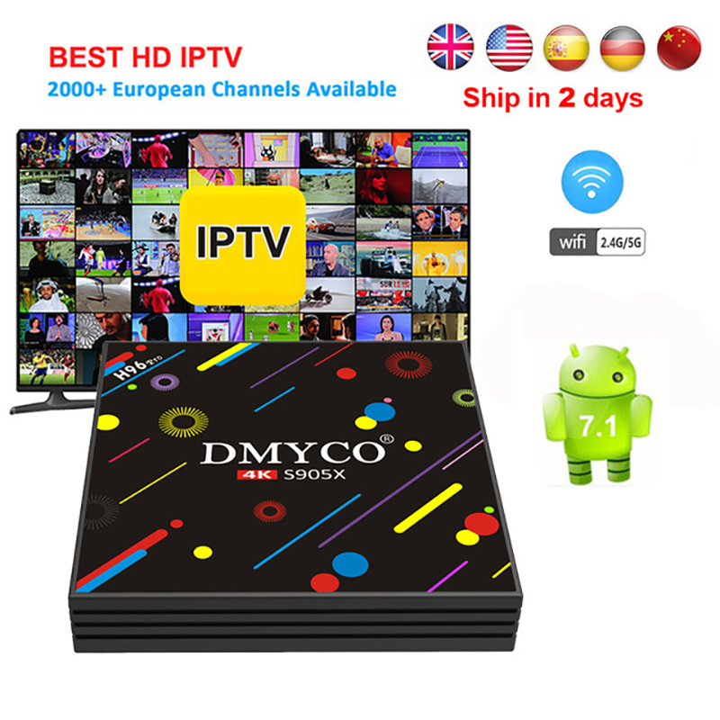 H96 Pro TV BOX Amlogic S905X Octa Core Android 7.1 Smart Tv 1 Year IPTV Subscription Spain French Arabic Europe IPTV Set Top Box недорго, оригинальная цена