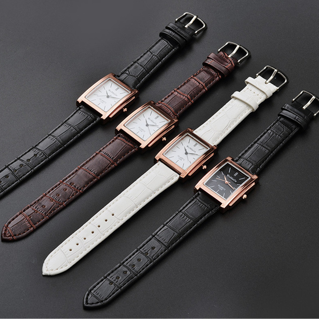 Black Square  Luxury Leather Band Quartz  Vintage watch 5