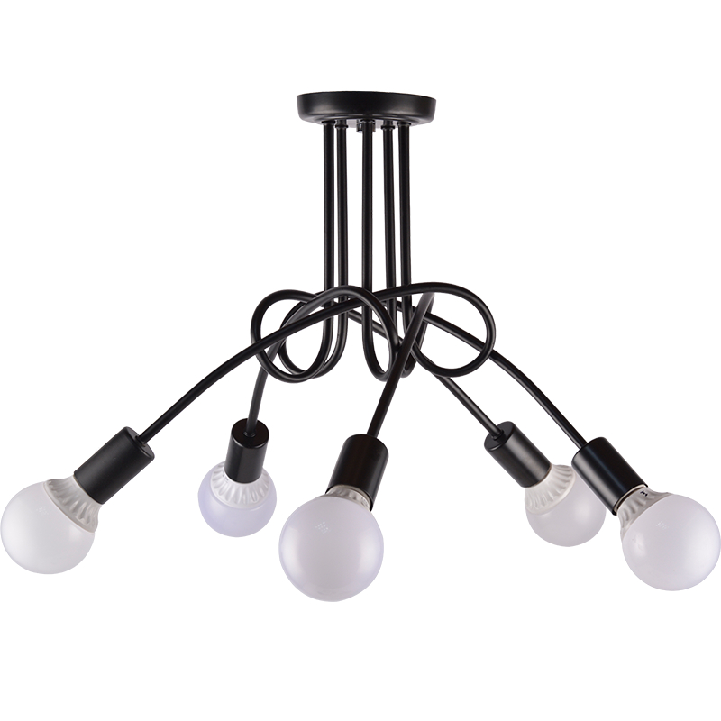 Kung Simple Creative pendant light Black red white vintage personality 5 arm E27 lamp brief led droplight bedroom lights creative led pendant light black white color kung brand nordic droplight nordic art style 3w e27 led lamp warm white decoration