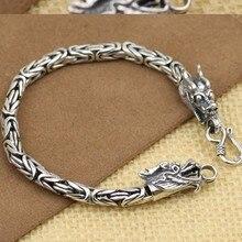 4MM Handmade 990 Siilver Dragon Bracelet Vintage Pure Silver Bracelet Good Luck Man Bracelet
