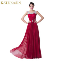 Grace Karin Sexy Red Chiffon A Line Formal Dress Wedding Party Gown Floor Length Long