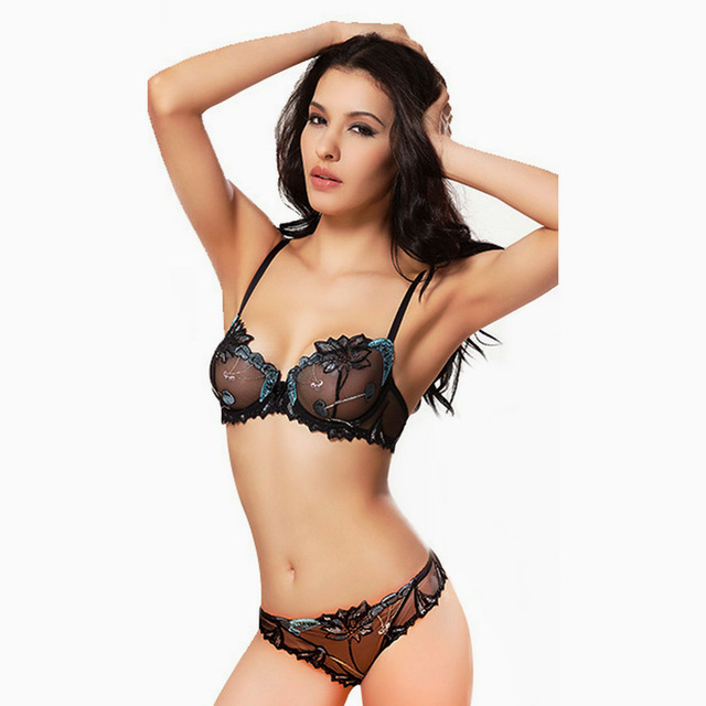 2015 ultra thin transparent lace Sexy Bra Push up bra brief set with Cherry embroidery T pants women's sexy lace bra sets