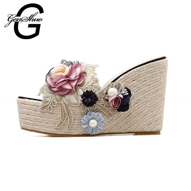 GENSHUO 2018 New Summer Platform Wedges Sandals Women High Heels Flower Slipper Female Summer Shoes Size 34-40 Drop Shipping