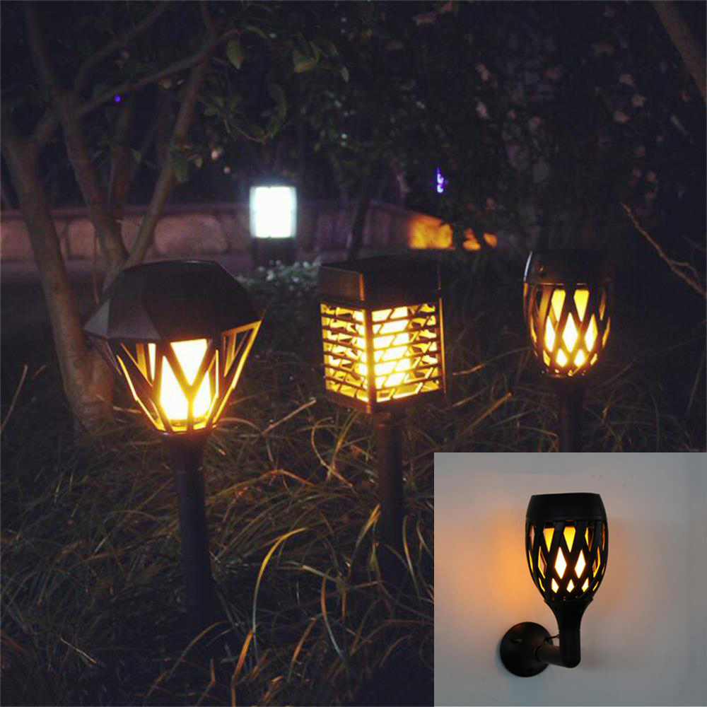 LED Solar Flame Flickering Lawn Wall Lamp USB Dancing Flame Light Solar Outdoor Waterpro ...