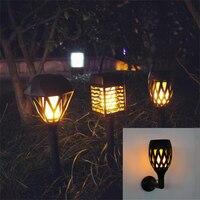 LED Solar Flame Flickering Lawn Wall Lamp USB Dancing Flame Light Solar Outdoor Waterproof Garden Decor Lamp Solar Garden Light