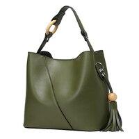 MISS YING Brand Genuine Leather Women S Handbag Designer High Quality Female Cow Leather Tassel Bucket