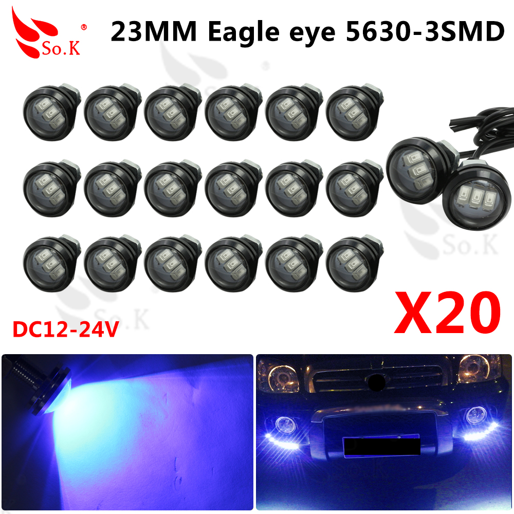 2015new arrival Eagle Eye 3 SMD LED Daytime Running Light 20pcs/lot 10W 12V 5730 Car Light Source Waterproof Parking Tail Light new arrival a pair 10w pure white 5630 3 smd led eagle eye lamp car back up daytime running fog light bulb 120lumen 18mm dc12v