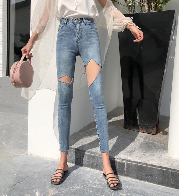 5b28b19f51d Ripped Jeans for Women Cut High Waisted Pencil Jeans Skinny Korean Ankle-  Length Denim Pants