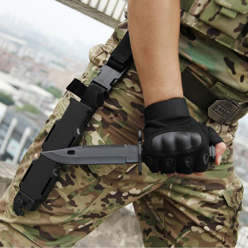 US Army <font><b>M9</b></font> Airsoft Tactical Combat Plastic Toy Dagger Cosplay Model <font><b>Knife</b></font> for Show Military Training Wargame Hunting Black Color image