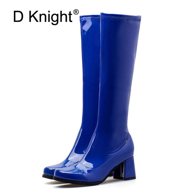 e293a3a7382 Black Purple Blue Knee High Boots Women Autumn Patent Leather High Square Chunky  Heels Woman Shoes Fashion Lady Motorcycle Boots