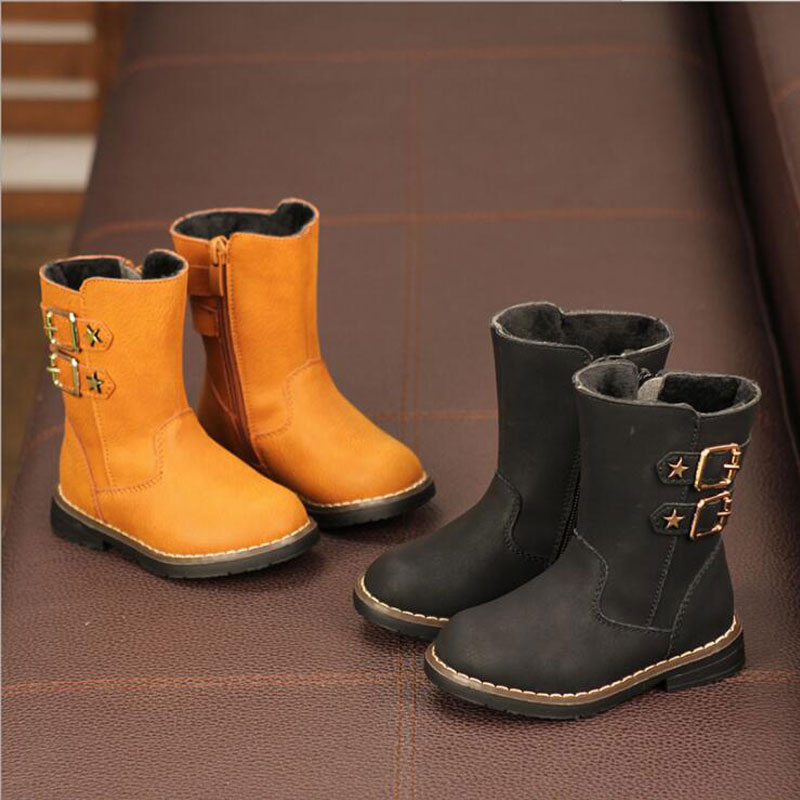 Kid Shoes Children Genuine Martin Boots Boy&girl Fashion Waterproof Boots Star Decoration 4-12 Years Old