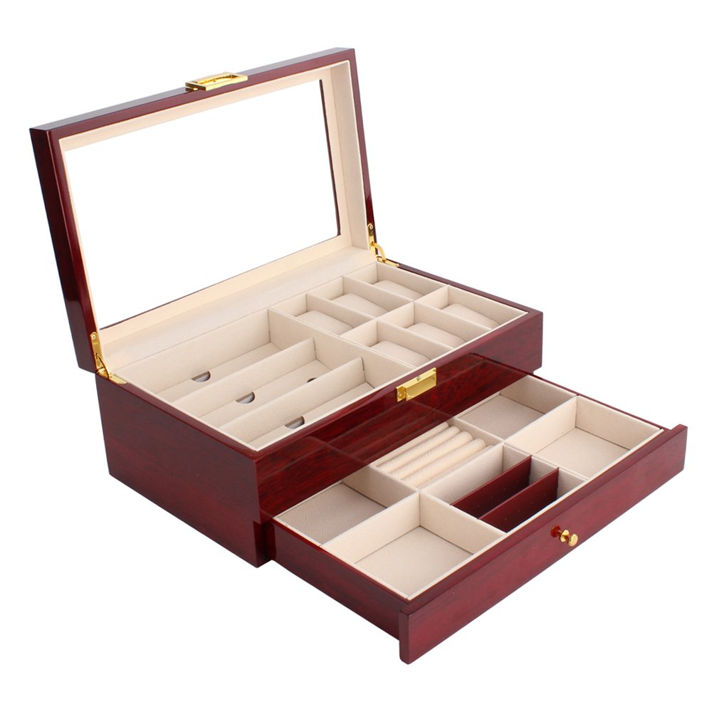 Charming Double Layers Wooden /Leather Watch Box 6 Grids Watch Case Mix Glasses Rings Bracelet Storage Box Jewelry Display Case collection classic leather 3 grids watch case plastic top display box