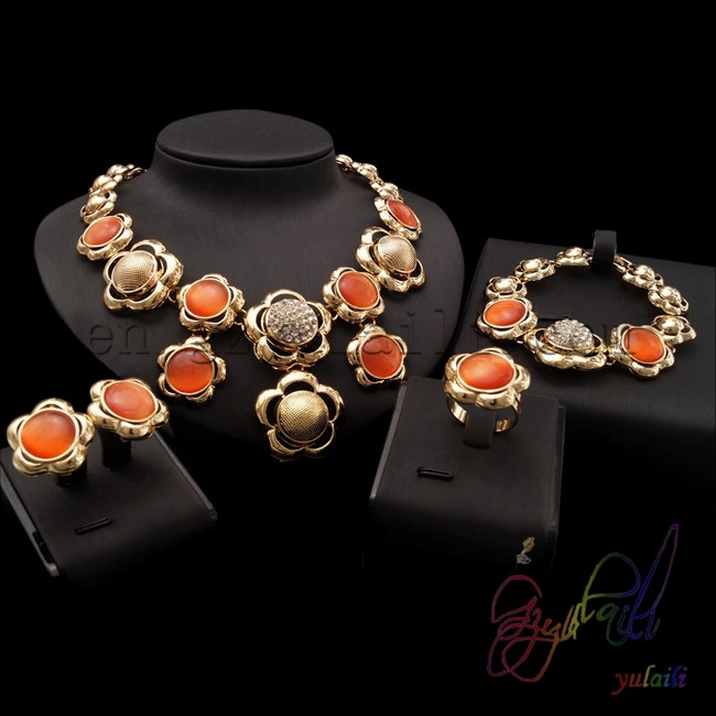african fashion jewelry sets 2016 cheap gold plating jewelry set orange necklace jewellery