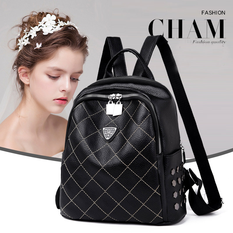 900d8b11cfbf Women s Backpack Black Casual Quilted PU leather Geometric School Bag 2019  new brand fashion Women Ladies Shoulder Tote Rucksack