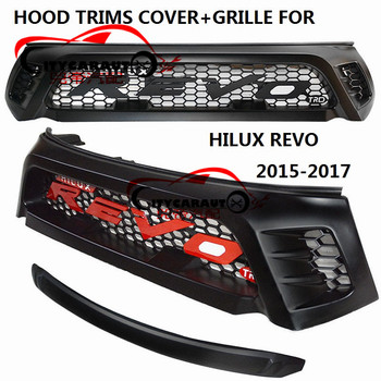 Hood trims cover sticke+BIG REVO LOGO Racing trd grill grille MATTE black front trims grills fit for toyota hilux REVO 2015-2017 grille