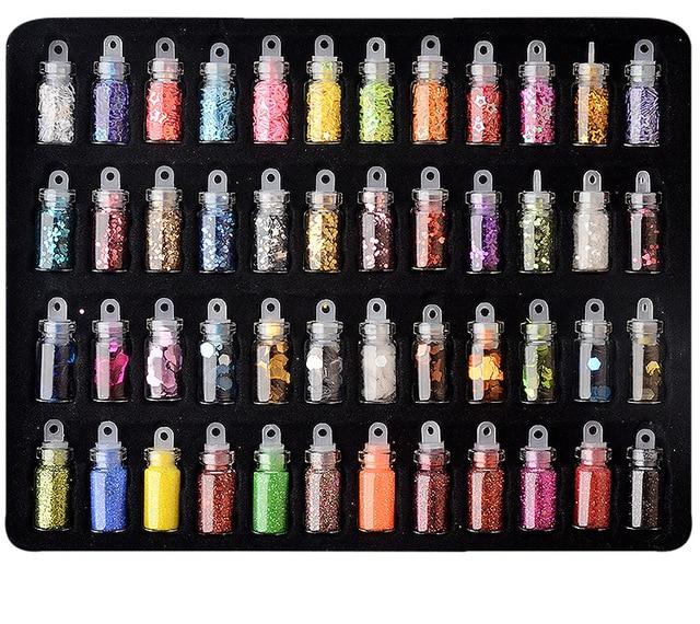 48pcs/set nail art decoration in glass bottle Flash Pink sequines hexagonal glitter nail sticker DIY 3D nail art flakes MZ070 6